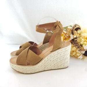 DOLCE VITA Espadrille Leather Wedge Sandles Sz 9.5